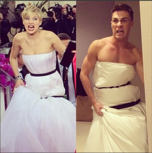 Colton Haynes instagram jennifer lawrence golden globes dress