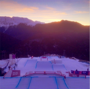 Gus Kenworthy sunrise over ski slope sochi