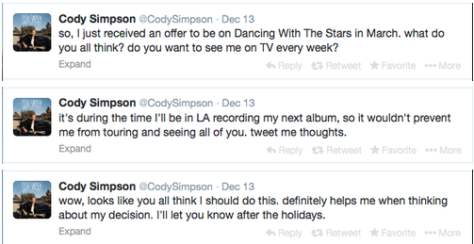 Cody Simpson DWTS offer tweets
