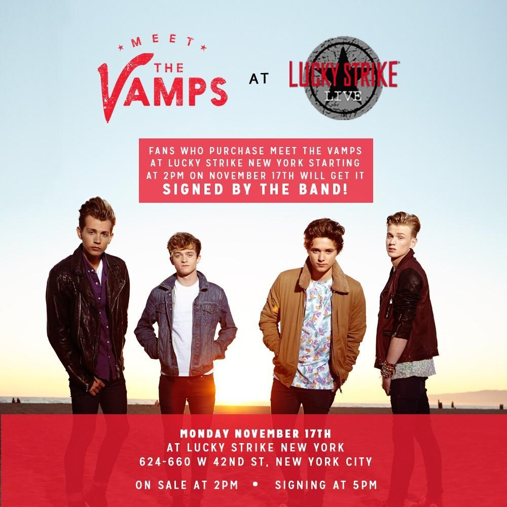 Meet the vamps at lucky strike in new york 1117 secretfangirls you can see the vamps perform as part of the radio disney birthday bash on november 22nd in la theyll be headed down under to tour australia m4hsunfo