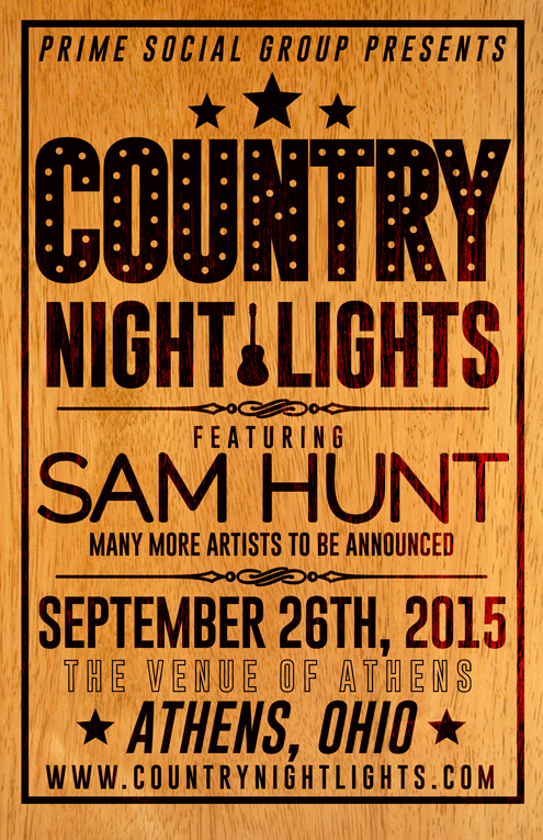 Sam Hunt Ohio Country Night Lights Fest Flyer Awesome Design